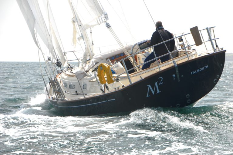 Rustler42 sailing, stern view