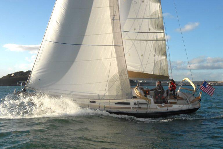 Rustler 36 sailing - bow-wave