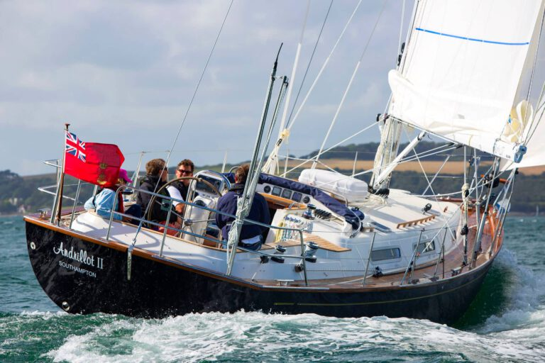 Rustler 37 sailing - stern view