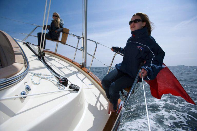 Rustler 44 sailing, happy crew