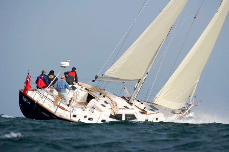 Rustler 44 sailing - stern view