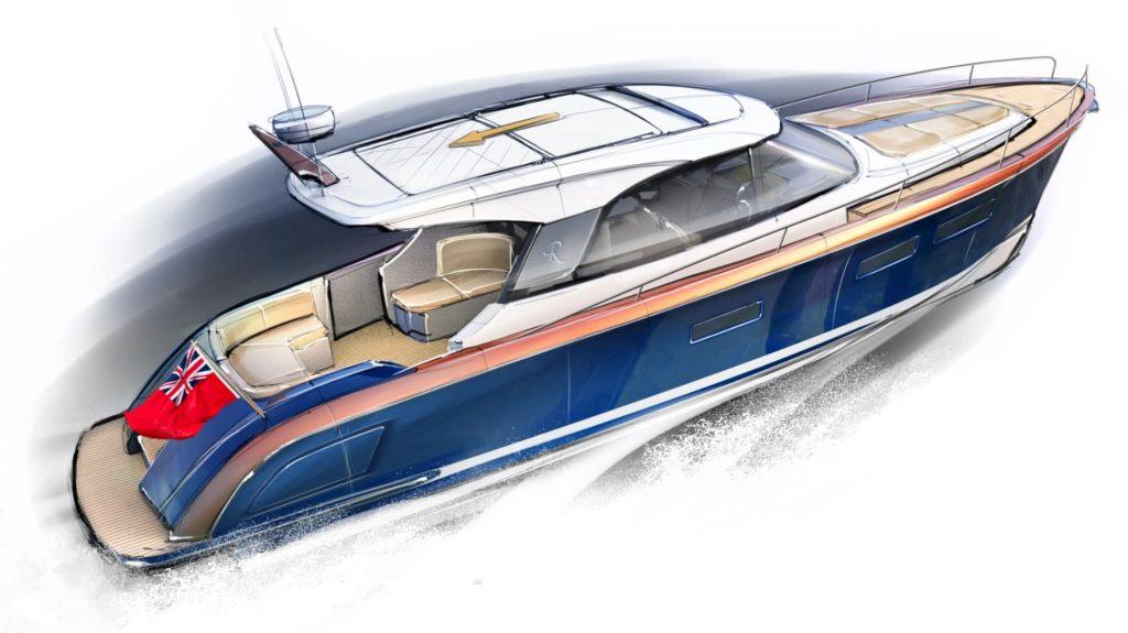 Rustler 41 Motor Yacht - three quarter right profile