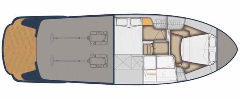 Rustler 41 - lower deck layout