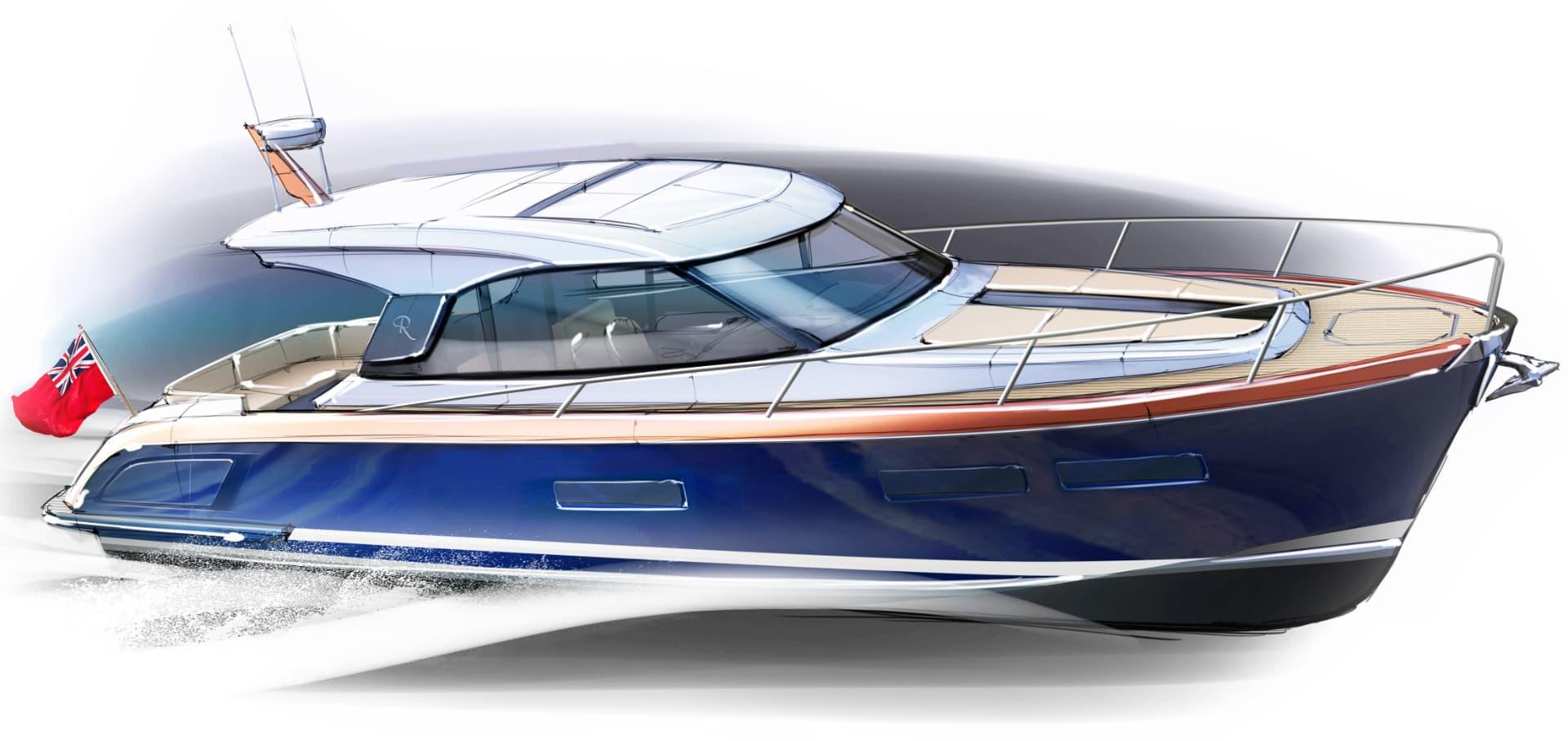 Rustler 41 Motor Yacht - three quarter front profile